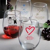 25 Personalized Stemless Wine Glasses Wedding Favor 9 oz Reception Gift Party - $95.02