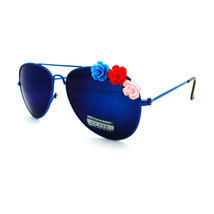 Rose Flower Ornament Metal Frame Women's Fashion Aviator Sunglasses - £5.98 GBP+