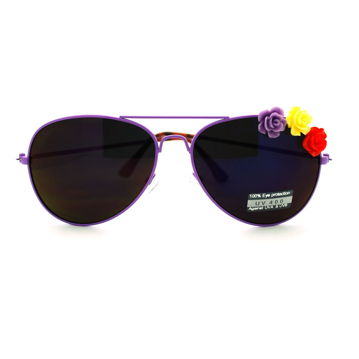 Rose Flower Ornament Metal Frame Women's Fashion Aviator Sunglasses