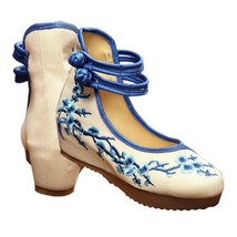 Old Beijing Cloth Shoes Plum Blossom Increased within   blue - $24.29