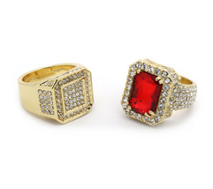 Mens 14K Gold Plated Hip Hop Octagon Fully Cz & Red CZ Ring Sizes 7 8 9 ... - $19.99