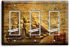 Pirate Ship Treasure Map Triple Gfci Light Switch Cover Boys Bedroom Room Decor - $14.57