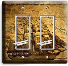 Pirate Ship Treasure Map Double Gfci Light Switch Cover Boys Bedroom Room Decor - $9.71