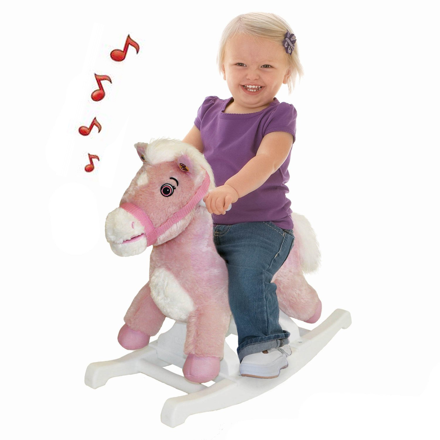 Musical Rocking Horse Pink Pony Child Plush Animated Singing Rocker Girls 1-3 yr