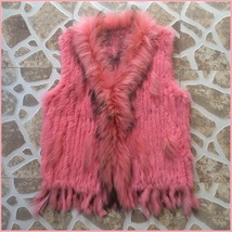 Pink Dyed Genuine Real Rabbit Fur Knitted Vest Fun Fashion Furs Wear w/Anything
