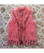 Pink Dyed Genuine Real Rabbit Fur Knitted Vest Fun Fashion Furs Wear w/A... - $146.95