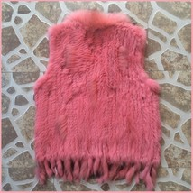 Pink Dyed Genuine Real Rabbit Fur Knitted Vest Fun Fashion Furs Wear w/Anything image 2