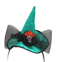 Mini Emerald Green Witch Hat Skull Bow Headband - €6,49 EUR