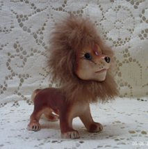 Vintage Kitsch Lion Figurine // Porcelain Lion With Fur Mane and Tail  - $14.00