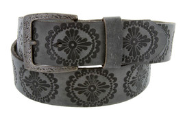 "Tooled Western Pattern Vintage Style 1.5"" Casual Jeans Belt w/ Dark Oxid... - $16.11"