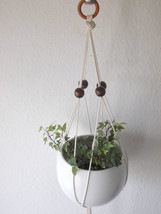 Cotton macrame plant hanger-23'' long-Modern Macrame beaded indoor plant... - $9.00