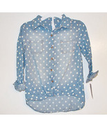 Cherokee Girls Button Up Top with Crop Knot Blue White Dots Size Med 7-8... - $14.99
