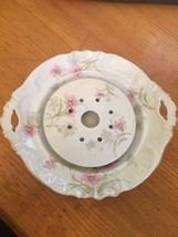 Vintage Floral Limoges Butter Dish Missing Lid Plate Frog Ice Ring - $27.69