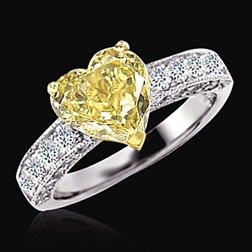 2.76 Ct. Yellow Canary Diamond Wedding Fancy Ring Heart Cut - Diamond