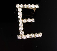 Rhinestone E Brooch Initial letter vintage bridesmaid sisters daughter - $45.00