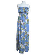 Strapless Maxi Ruffle Overlay Summer Dress/Made in USA/Rayon - £51.04 GBP