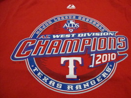 MLB Texas Rangers Major League Baseball Fan 2010 Champions Majestic T Shirt L - $17.17