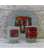 "Vintage Mid Century Retro ""Coffee & Snack"" Snack Plates With Cups // 4 P... - $14.00"
