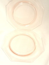 2 Pink Depression Glass Plates 8 inch Luncheon Salad Plates - $9.99