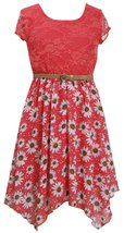 Little Girls Coral Belted Lace and Floral Chiffon Hanky Hem Social Dress