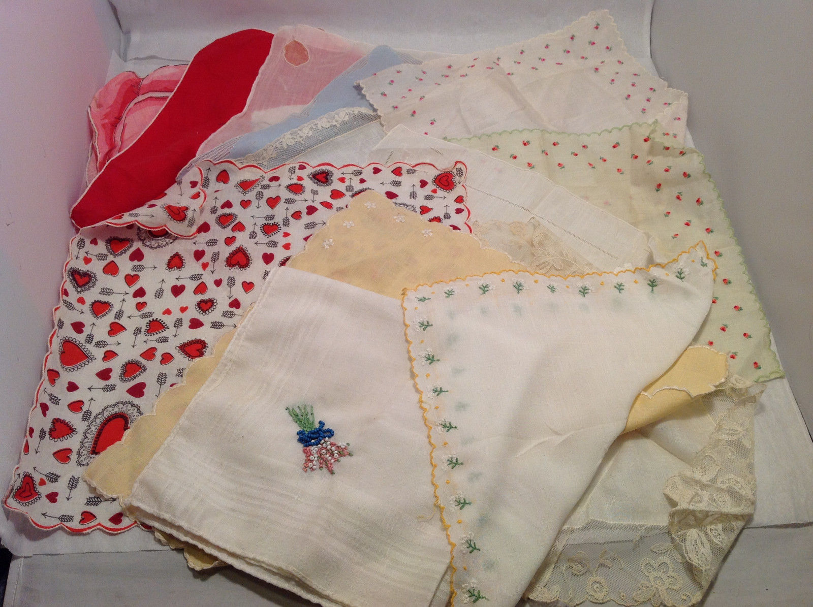 13 Handkerchiefs Lot Colorful Variety Assortment w/ Embroidered or Print Details