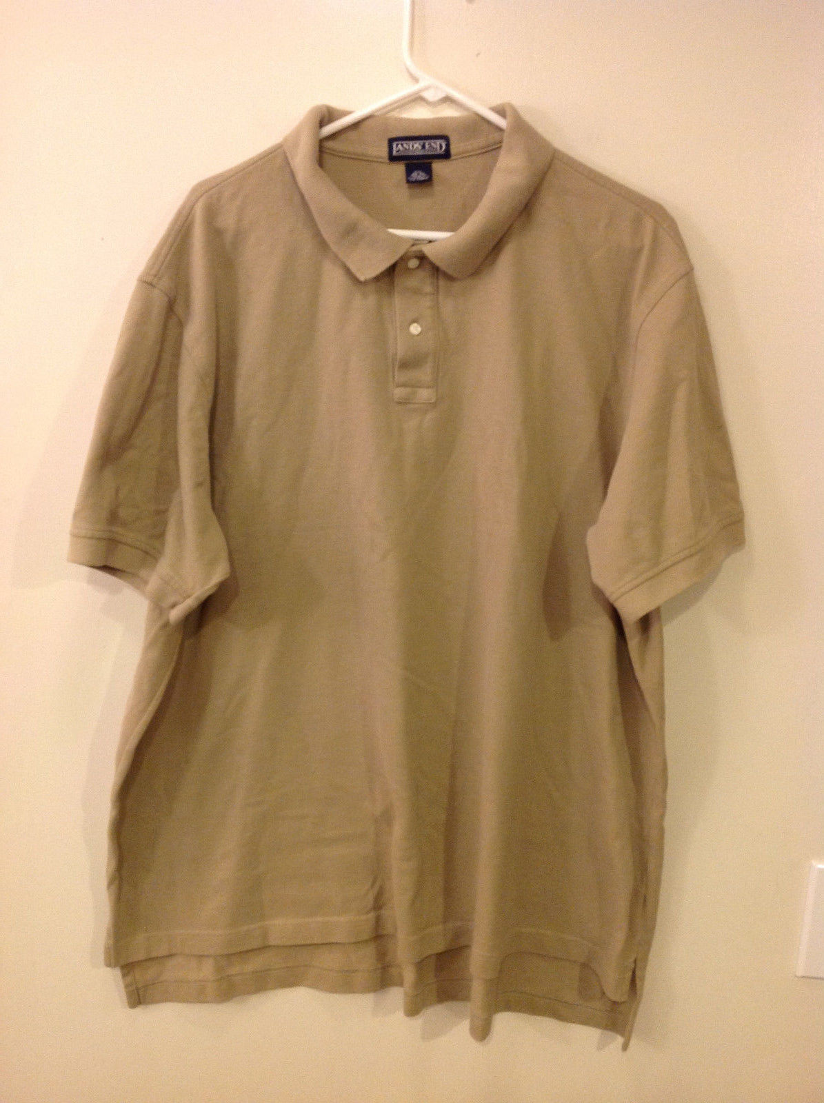 Lands' End Men's Size XXL 50-52 Pique Polo Shirt Wheat Brown w/ Short Sleeves
