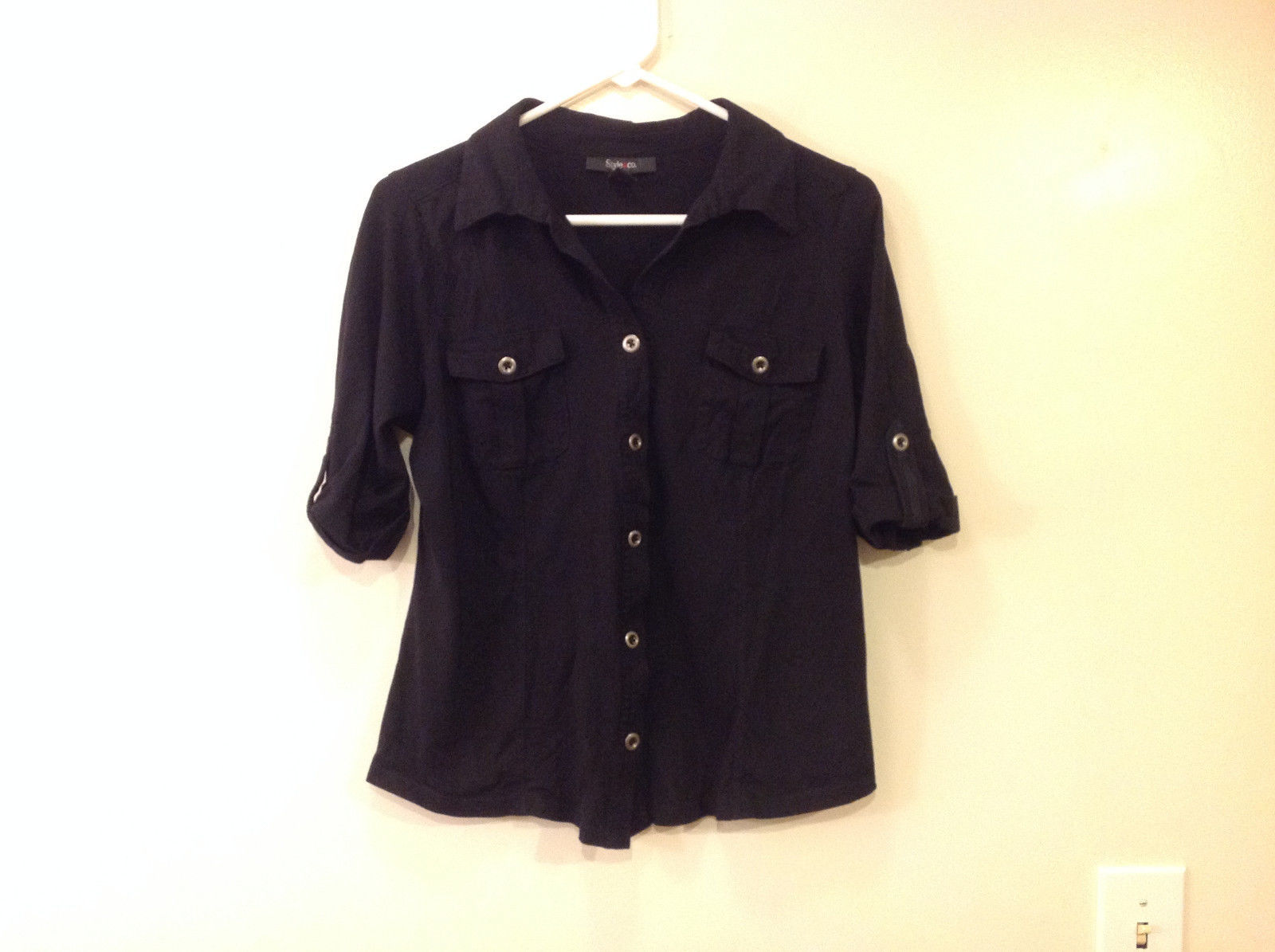 Style & Co. Women's Size M Utility Safari Shirt Black Cotton Roll Tab Sleeves