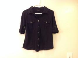 Style & Co. Women's Size M Utility Safari Shirt Black Cotton Roll Tab Sleeves