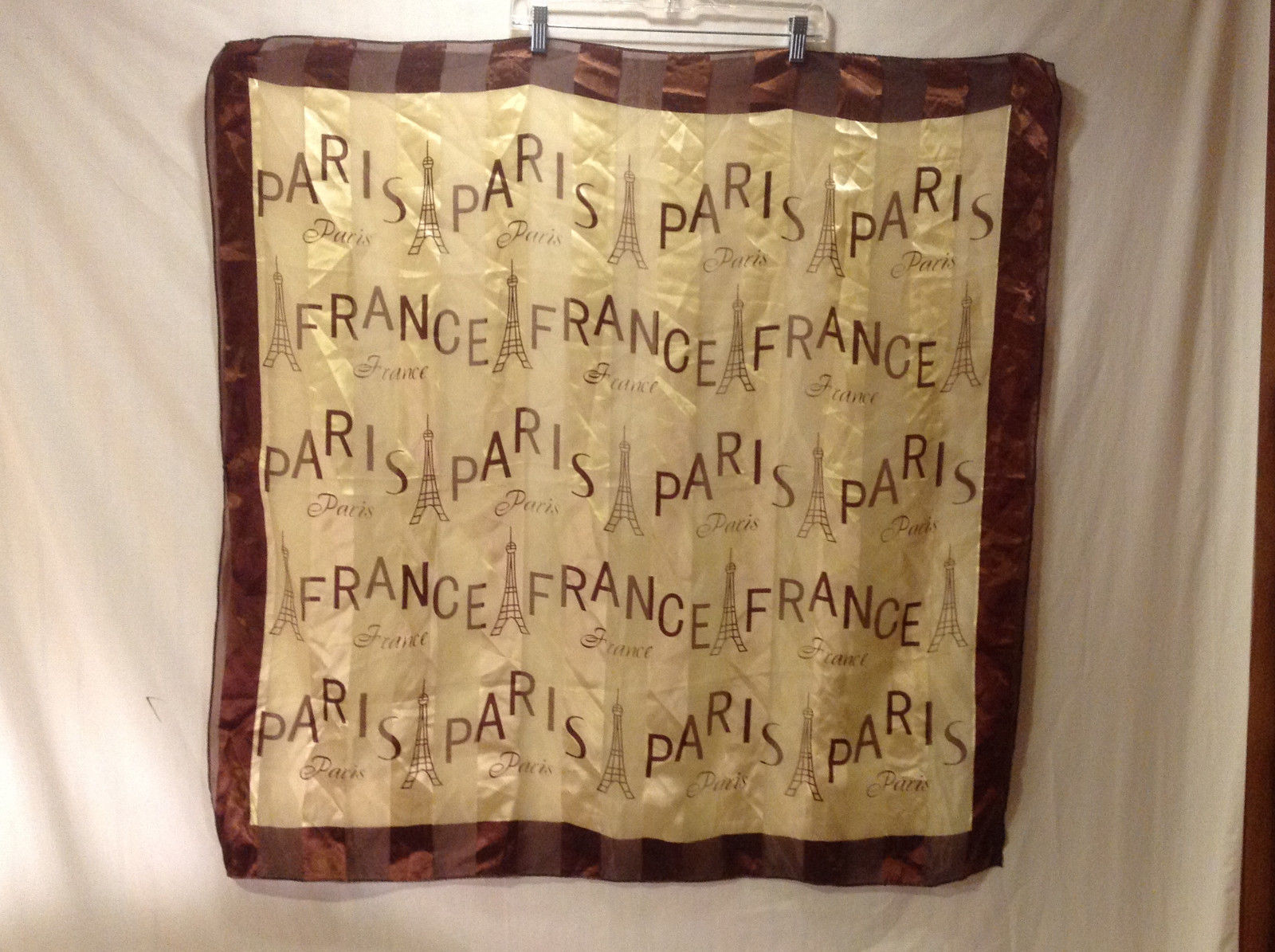 Women's Scarf w/ France, Paris & Eiffel Tower Graphic Print in Cream Brown Sheen