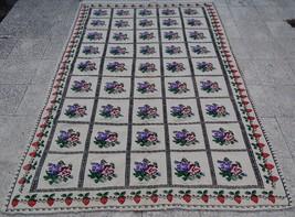 5 X 7.4 Ft.Turkish Handmade Needlepoint Area Rug Wool Floral Kilim Jajim... - $242.75