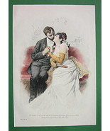 YOUNG LOVER Kiss on Bench - VICTORIAN Era Color... - $14.84