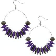 Purple Large Disk Hoop Earrings - $13.80
