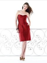 Dessy 2816*....Bridesmaid / Cocktail Dress....Ribbon Red......Sz 10 - $19.79