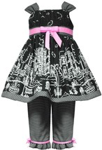 Little Girls 2T-6X Black White Pink Europe Paris Border Print Dress/Pants Set