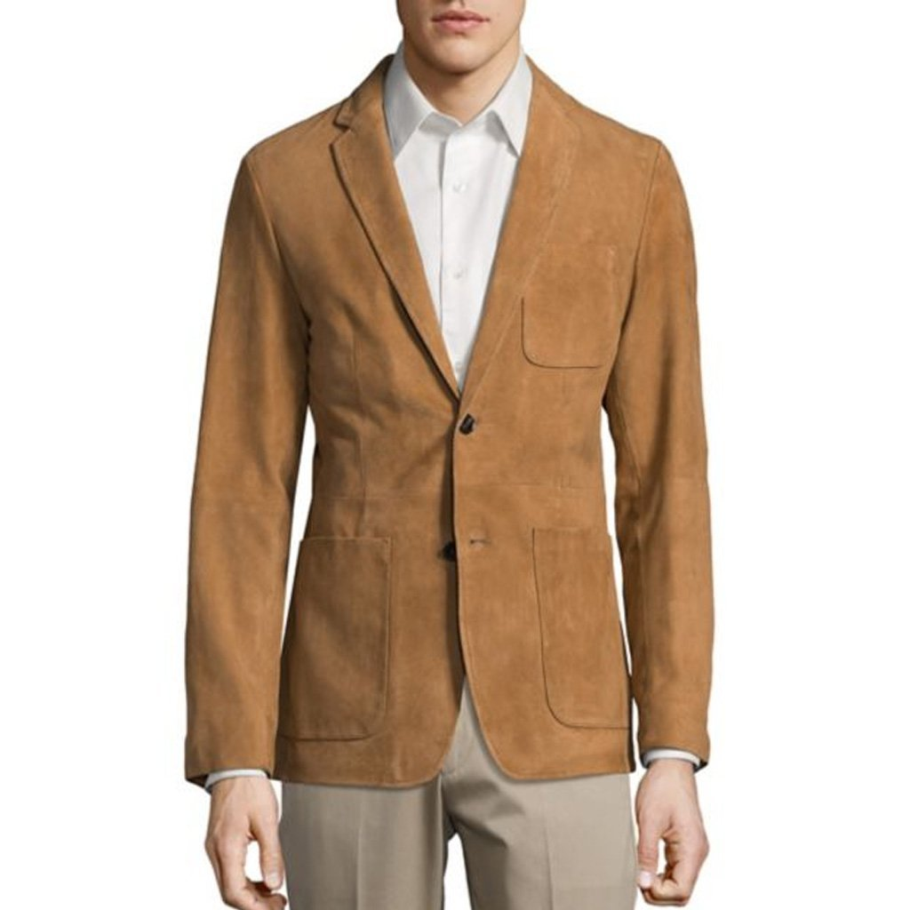 Corporate Style Suede Leather Men Blazer