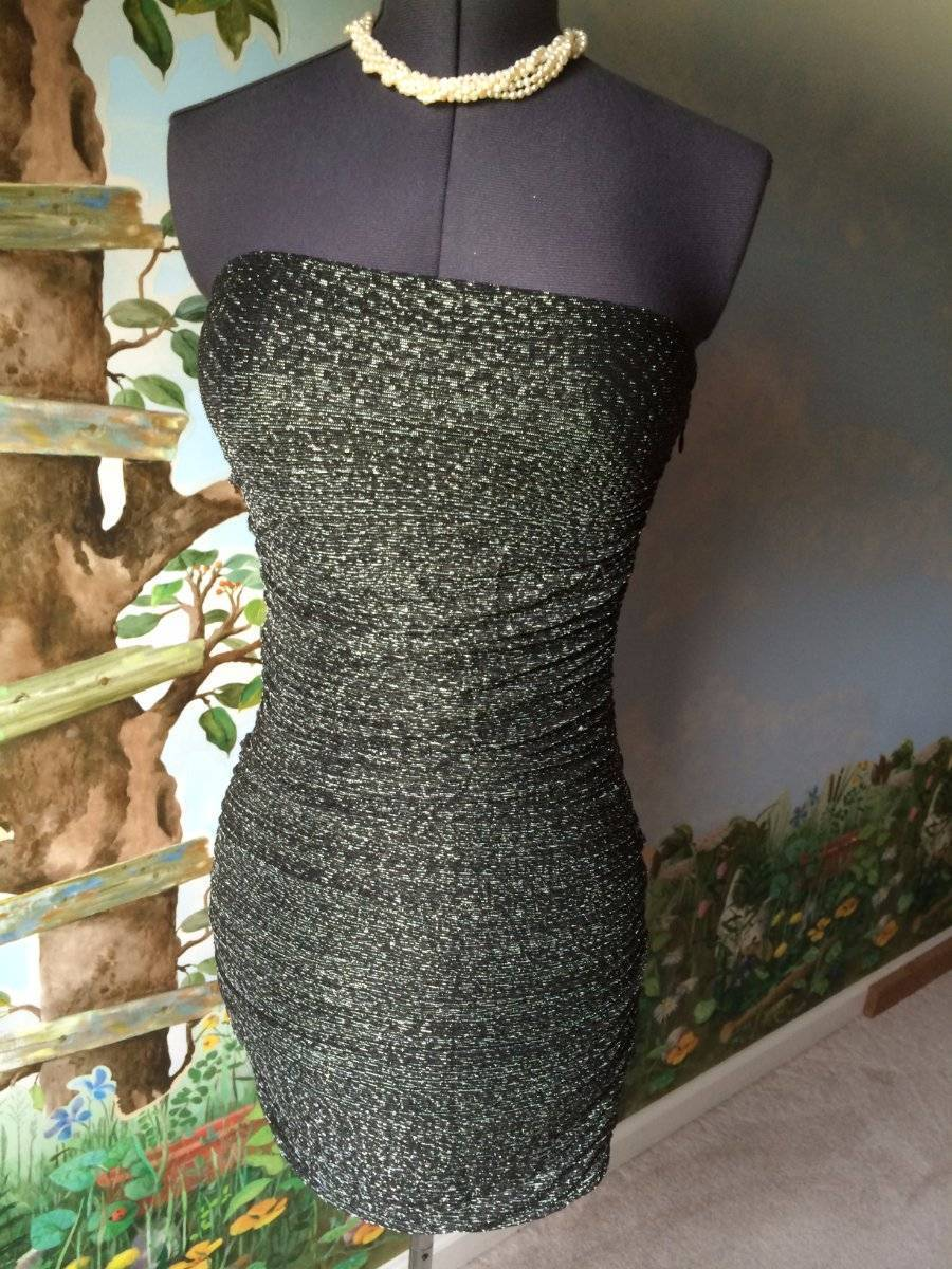 Express Women's Black & Silver Strapless Cocktail Dress SZ M NWT