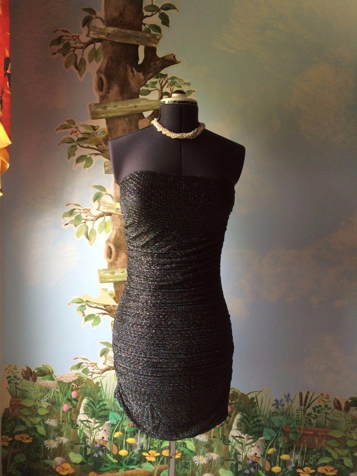Express Women's Black & Silver Strapless Cocktail Dress SZ M NWT image 2