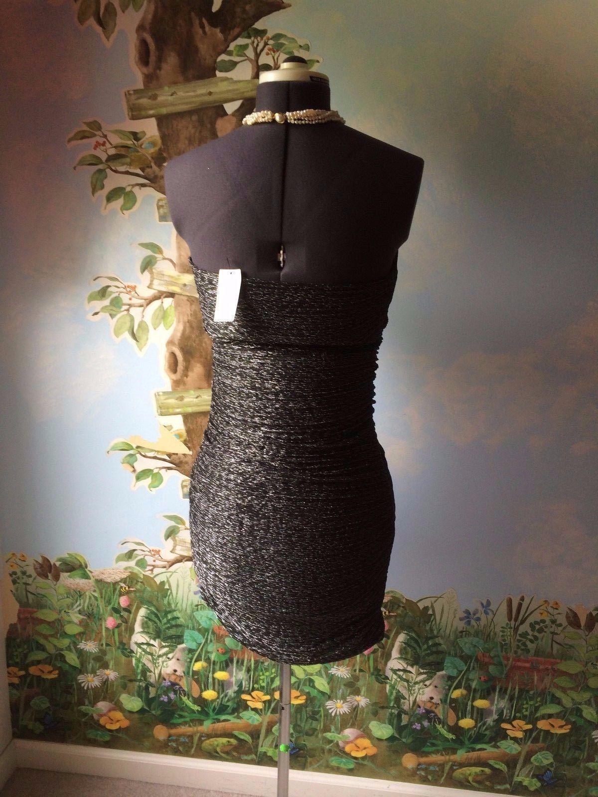 Express Women's Black & Silver Strapless Cocktail Dress SZ M NWT image 5