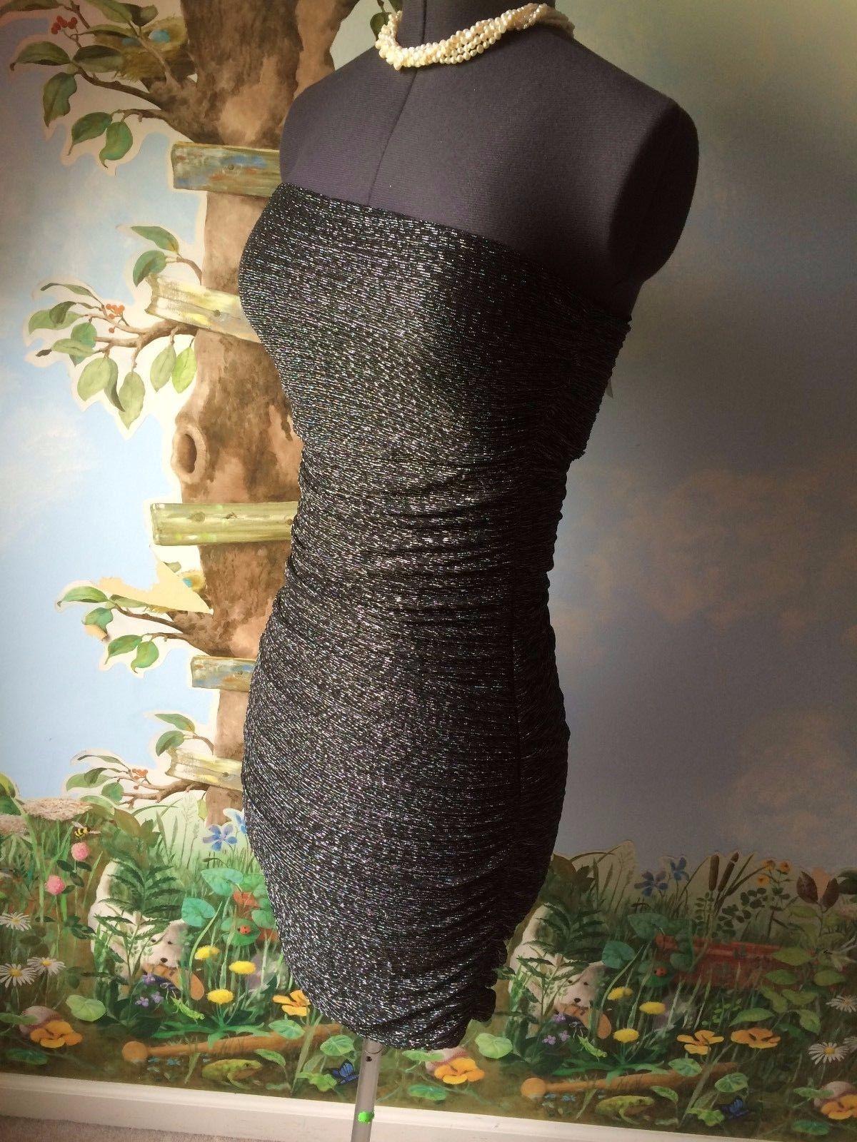Express Women's Black & Silver Strapless Cocktail Dress SZ M NWT image 11