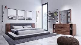 Nova Domus Jagger Modern Dark Grey & Walnut Bed with Galaxy Light Box  - $1,998.00+