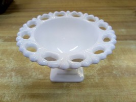 Vtg White Milk Glass Pedestal Square Footed Candy Dish Compote Bowl Lace... - $14.84