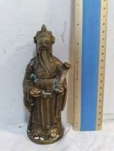 Vintage Antique Metal Statue Asian Stamped Signed Robed Man Crown Bowl Scepter image 1