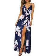 II ININ Women's Deep V-Neck Casual Dress Summer Backless Floral Print Sp... - $29.38
