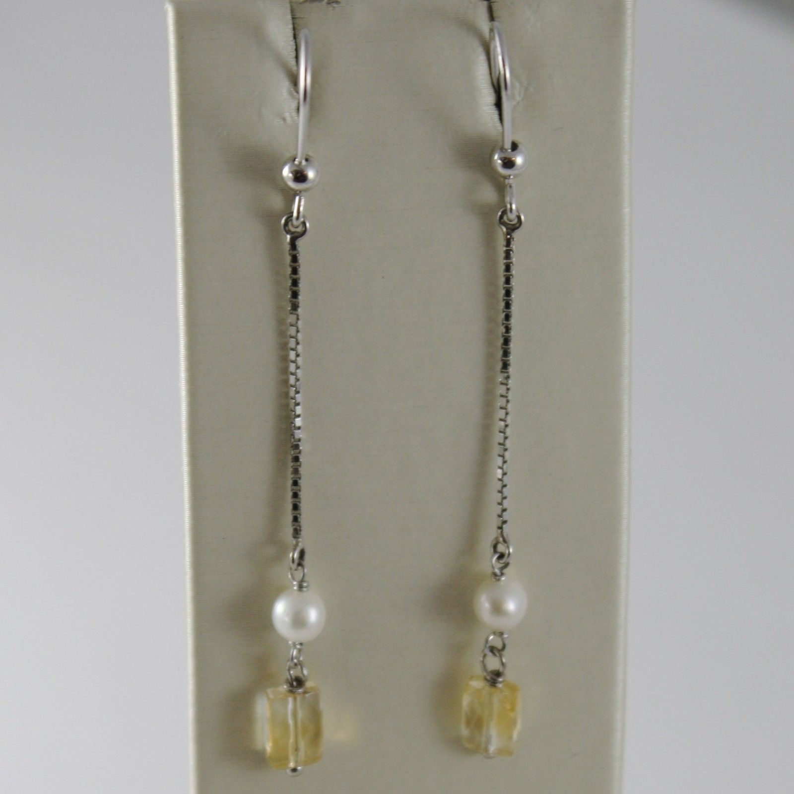 SOLID 18K WHITE GOLD PENDANT EARRINGS WITH CITRINE AND PEARL MADE IN ITALY