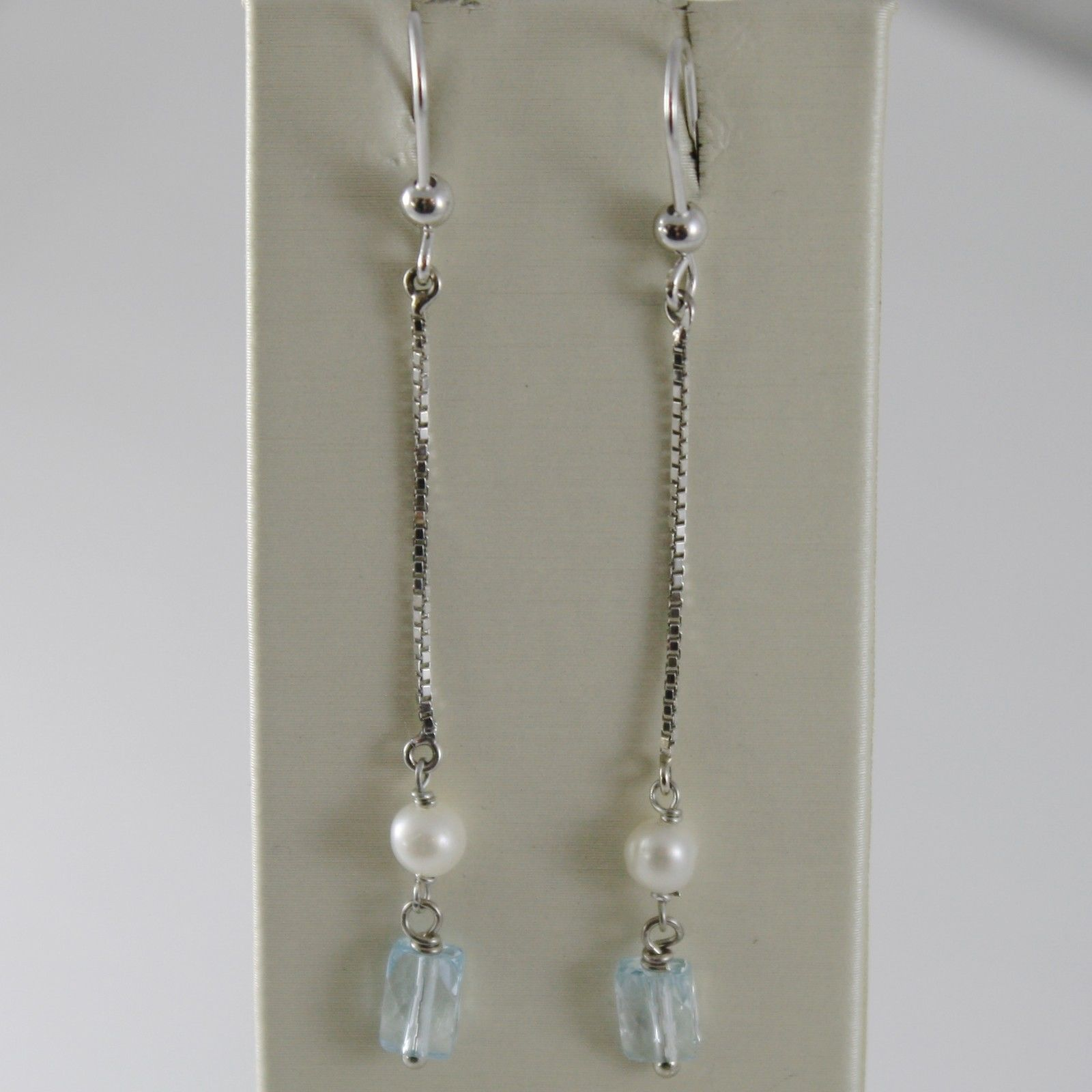 SOLID 18K WHITE GOLD PENDANT EARRINGS WITH BLUE TOPAZ AND PEARL MADE IN ITALY