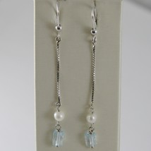SOLID 18K WHITE GOLD PENDANT EARRINGS WITH BLUE TOPAZ AND PEARL MADE IN ITALY image 1