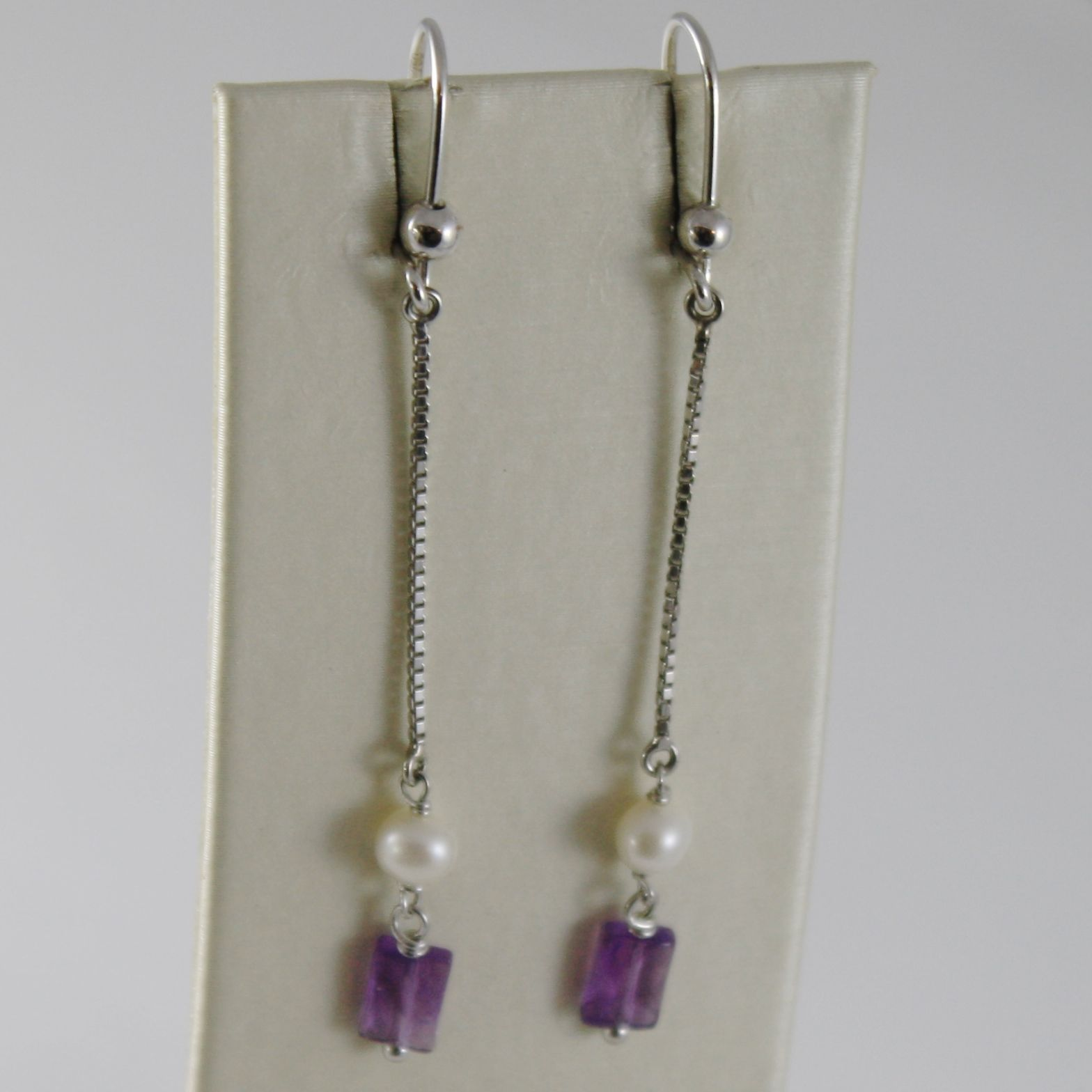 SOLID 18K WHITE GOLD PENDANT EARRINGS WITH AMETHYST AND PEARL MADE IN ITALY