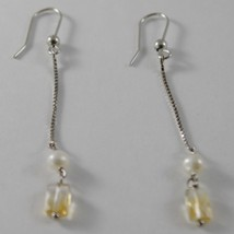 SOLID 18K WHITE GOLD PENDANT EARRINGS WITH CITRINE AND PEARL MADE IN ITALY image 2