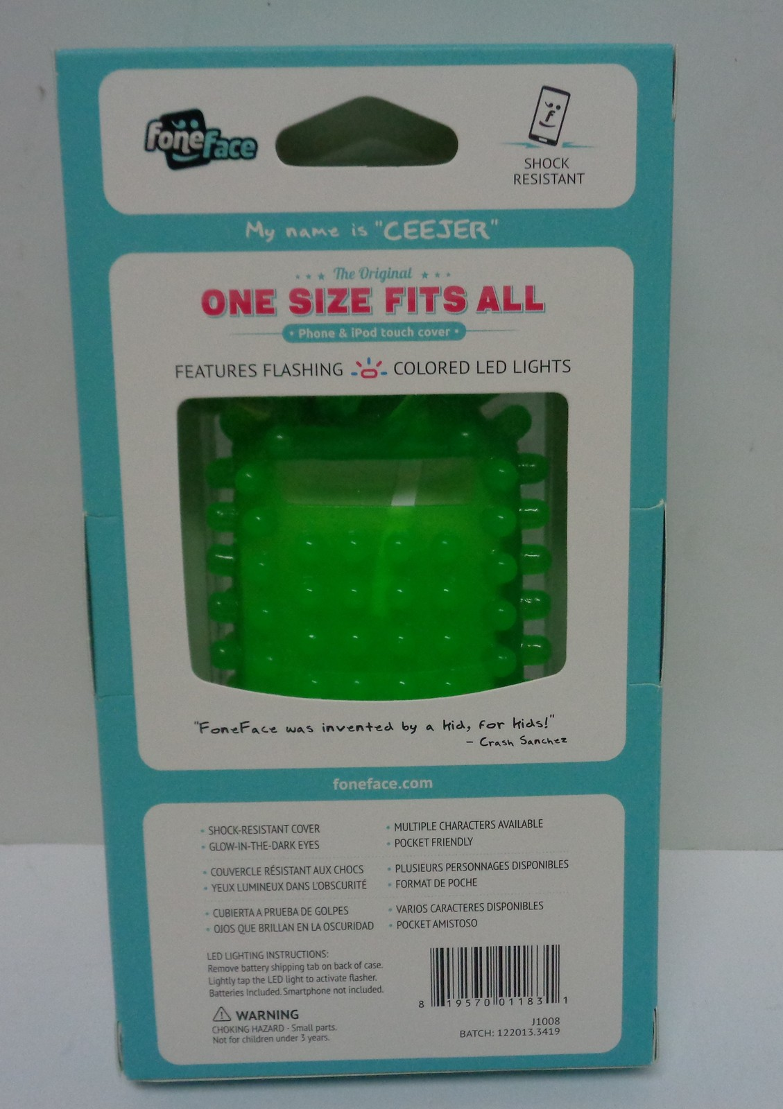 Fone Face Bounce Cell Phone Shock Resist Case Stretchable NIB Green Eyes Glow