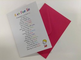 Let Fun In - Cute Motivational & Encouragement Luxury Greetings Card, 5x... - $4.99